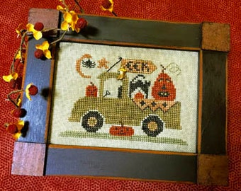 Cross Stitch Pattern, Trick or Treat Truck, Halloween Decor, Black Cat, Jack-O-Lantern, Pick-Up Truck, Moon, Homespun Elegance, PATTERN ONLY