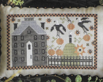 Counted Cross Stitch Pattern, Crone on the Hill, Fall Decor, Pumpkin, Crow, Sunflowers, Primitive Decor, Plum Street Samplers, PATTERN ONLY