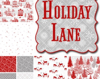 Quilt Fabric, Holiday Lane, Christmas Fabric, Red & White Holiday Fabric, Quilters Cotton Fabric, Jan Shade Beach, Henry Glass Fabrics