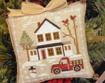 Counted Cross Stitch Pattern, Grandpa's Pick-Up, Farmhouse Christmas, Cross Stitch Pillow, Ornament, Little House Needleworks, PATTERN ONLY