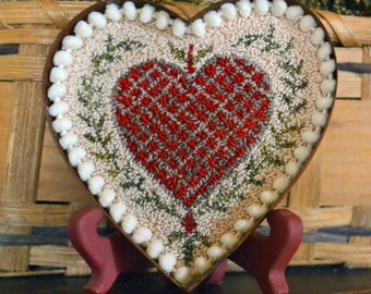 Punch Needle Pattern, 1800's Heart Butter Mold, Heart Punchneedle, Valentine Heart, Punch Needle Embroidery, Village Folk Art, PATTERN ONLY