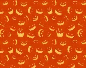 Quilt Fabric, Haunted Night, Orange Spooky Faces, Halloween Fabric, Quilt Fabric, Halloween Decor, Danielle Leon, Wilmington Prints