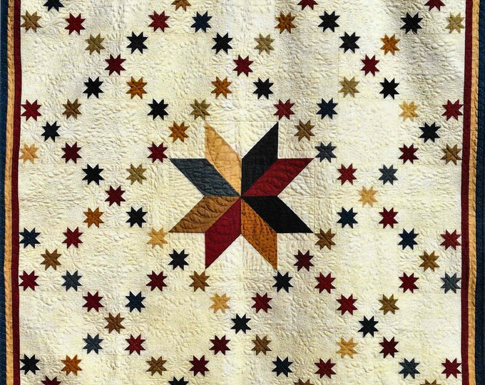 Featured listing image: Quilt Pattern, Stars of Glory, Pieced Quilt, Americana, Lap Quilt, Primitive Decor, Patriotic Decor, Thimble Creek Quilts, PATTERN ONLY