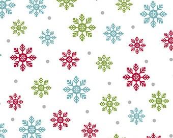 Quilt Fabric, Joy, Bright Flakes, Multi, Christmas Fabric, Holiday, Benartex, Contempo, Cherry Blossom Quilting, Cherry Guidry