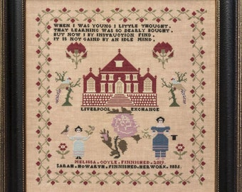 Counted Cross Stitch Pattern, Sarah Howarth 1835, Reproduction Sampler, Floral Motifs, Poem, Hands Across the Sea, PATTERN ONLY