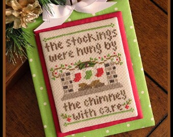 Counted Cross Stitch, By the Chimney, Christmas Ornament, Christmas Pillow, Stockings, Fireplace, Country Cottage Needleworks, PATTERN ONLY