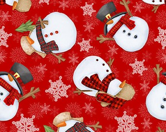 Flannel Fabric, Flannel Gnomies, Tossed Snowmen, Snowmen, Winter Flannel, Cotton Flannel, Quilting Flannel, Shelly Comiskey, Henry Glass