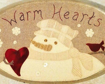 Wool Applique Pattern, Warm Hearts, Table Mat, Winter Decor, Snowman, Cardinal, Holiday Decor, Wool Mat, Sew Cherished, PATTERN ONLY