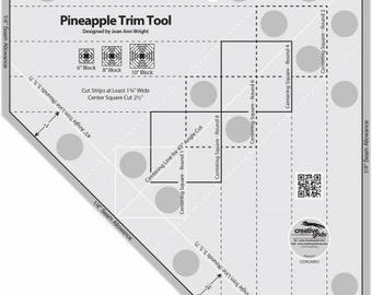"Quilt Ruler, Creative Grids Pineapple Trim Tool, 6"", 8"" & 10"" Pineapple Acrylic Ruler, Creative Grids, Jean Wright, FREE PATTERN Included"