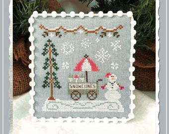 Counted Cross Stitch, Snow Village, Snow Cone Cart, Cottage Decor, Winter Decor, Country Cottage Needleworks, PATTERN ONLY
