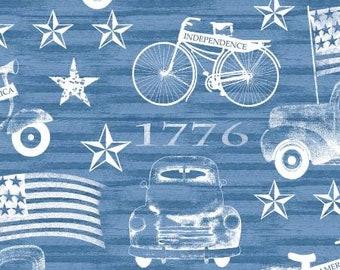 Quilt Fabric, American Spirit, Blue Vehicles, Patriotic Fabric, Americana, Cotton, Quilter Cotton, Premium Cotton, Beth Albert Fabric