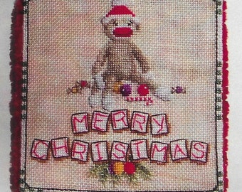 Counted Cross Stitch, Sock Monkey Christmas, Christmas Ornament, Christmas Monkey, Toys in the Attic, Blackberry Lane Designs, PATTERN