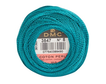 DMC Perle Cotton, Size 8, DMC 3847, Dk Teal Grn, Pearl Cotton Ball, Embroidery Thread, Punch Needle, Embroidery, Penny Rug, Sewing Accessory
