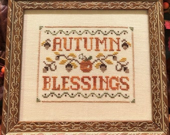 Counted Cross Stitch Pattern, Autumn Blessings, Harvest, Thanksgiving, Pumpkins, Acorns, Fall Decor, Scissor Tail Designs, PATTERN ONLY