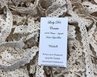 Cotton Lace Trim, Lady Dot Creates, Nilla, Hand Dyed Lace, Cotton Lace, Ecru Lace, Sewing Notion, Sewing Accessory, Sewing Trim