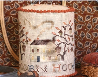 Counted Cross Stitch Pattern, Acorn House Pin Drum, Acorns, Oak Tree, Saltbox House, Pincushion, Heartstring Samplery, PATTERN ONLY