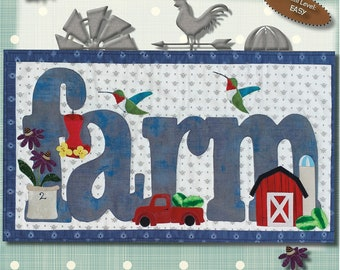 Quilt Pattern, Summer on the Farm, Applique Wallhanging, Hummingbirds, Red Pick-Up, Barn, Coneflower, Patch Abilities, PATTERN ONLY w/HANGER