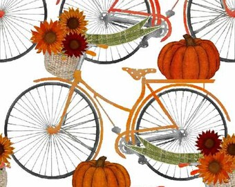 Quilt Fabric, Harvest Campers, Bicycles, Sunflowers, Pumpkins, Fall Decor, Autumn Decor, Country Rustic, Farmhouse, 3 Wishes, Beth Albert