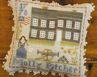 Counted Cross Stitch Pattern, Early Americans, No. 9, Molly Pitcher, Cross Stitch, Little House Needleworks, Stitch Pillow, PATTERN ONLY