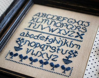 Counted Cross Stitch Pattern, Ameline Sampler, Alphabet Sampler, Cottage Decor, Farmhouse, October House Fiber Arts, PATTERN ONLY
