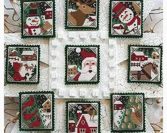 Counted Cross Stitch, Snowy Nights, Christmas Ornaments, Santa, Snowman, Reindeer, Cardinals, Partridge, The Prairie Schooler,  PATTERN ONLY