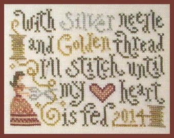 Counted Cross Stitch Pattern, Stitching Feeds My Heart, Stitching Sampler, Sewing Sampler, Silver Creek Samplers, Pattern Only