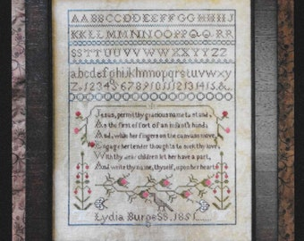 Counted Cross Stitch Pattern, Lydia Burgess, 1851, English Sampler, Reproduction Sampler, Religious, Victorian Rose Needlearts, PATTERN ONLY