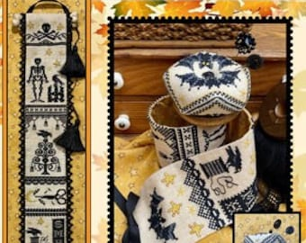 Counted Cross Stitch Pattern, Something Wicked Too, Banner & Biscornu, Halloween Decor, Skeletons, Bats, Sue Hillis Designs, PATTERN ONLY