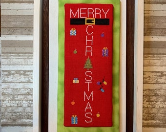 Counted Cross Stitch Pattern, Merry Christmas, Christmas Decor, Ornaments, Presents, Christmas Sampler, Needle Bling Designs, PATTERN ONLY