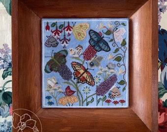 Counted Cross Stitch Pattern, Butterfly Garden, Butterflies, Monarch, Garden Decor, Nature, Flowers, The Blue Flower, PATTERN ONLY