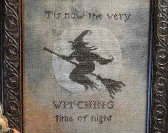 Counted Cross Stitch Pattern, Witching Time of Night, Halloween Decor, Witch, Full Moon, Primitive Decor, The Nebby Needle, PATTERN ONLY