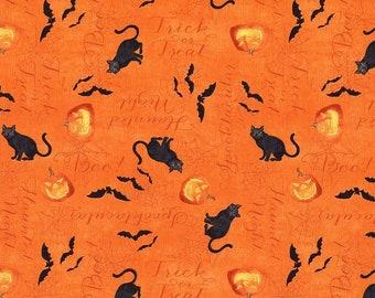 Quilt Fabric, Haunted Night, Orange Haunted Words, Halloween Fabric, Quilt Fabric, Halloween Decor, Danielle Leon, Wilmington Prints