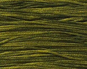Weeks Dye Works, Moss, WDW-2201, 5 YARD Skein, Hand Dyed Cotton, Embroidery Floss, Counted Cross Stitch, Embroidery, PunchNeedle