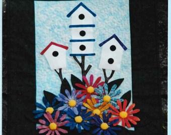 Quilt Pattern, Birds in Bloom, Applique Quilt, Birdhouse, Flowers, Spring Decor, Summer Decor, Garden Quilt, PATTERN ONLY