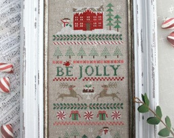 Counted Cross Stitch Pattern, Candy Cane Lane, Band Sampler, Christmas Decor, Reindeer, Primitive Decor, Brenda Gervais, PATTERN ONLY