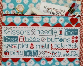 Cross Stitch Pattern, Love My Stitching, Project Bag, Cross Stitch Bag, Notions Bag, Scissors, SewMuch2Luv, Hands On Design, PATTERN ONLY