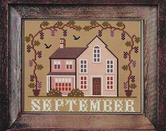 Counted Cross Stitch Pattern, September Cottage, I'll Be Home Series, Fall Decor, Country Rustic, Twin Peak Primitives, PATTERN ONLY