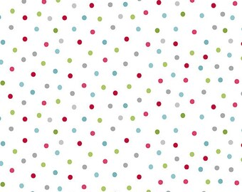 Quilt Fabric, Joy, Festive Dot, Multi Dots on White, Christmas Fabric, Holiday, Benartex, Contempo Cherry Blossom Quilting, Cherry Guidry
