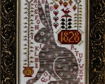 Counted Cross Stitch Pattern, Rebecca, Rabbit Sampler, French Sentiments, Easter Decor, Primitive Bunny, Kathy Barrick, PATTERN ONLY