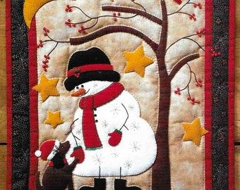 Wool Applique Pattern, Frosty & Friend, Winter Applique, Quilted Wall Hanging, Snowman Wallhanging, Rachel's of Greenfield, PATTERN AND KIT