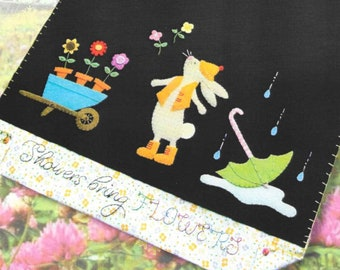 Wool Applique Pattern, Showers Bring Flowers, Wool Applique Table Runner, Spring Decor, Rabbit, Raindrops, Nutmeg Hare, PATTERN ONLY