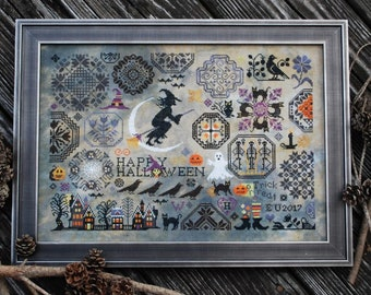 Counted Cross Stitch, Halloween Quaker, Witch, Black Cats, Cross Stitch Patterns, Halloween, Halloween Decor, Lila's Studio,  PATTERN ONLY