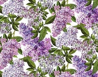 Quilt Fabric, Chelsea, Lilac Fabric, Purple Lilacs, Floral Fabric, Lilac Blooms, Cotton Quilting Fabric, Michel Design Works, Northcott