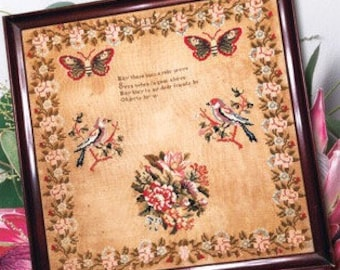 Counted Cross Stitch, May These Lines a Relic Prove, Garden Sampler, Reproduction Sampler, Antique Reproduction, Cross Stitch Antiques