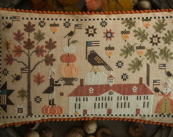 Counted Cross Stitch Pattern, George Decorates for Martha, Fall Decor, Pumpkins, Acorns, Plum Street Samplers, PATTERN ONLY