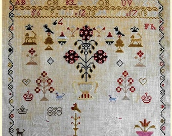 Counted Cross Stitch Pattern, Ann Congreve, Reproduction Sampler, Colonial Style Needlework, Primitive Decor, Stacy Nash, PATTERN ONLY