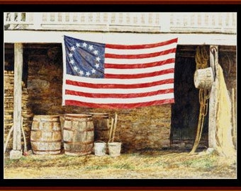 Counted Cross Stitch Pattern, American Flag, Primitive Decor, Patriotic, Americana, Farmhouse, Cross Stitch Collectibles, PATTERN ONLY