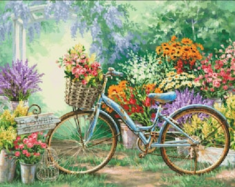 Counted Cross Stitch Pattern, The Flower Mart, Bicycle, Flower Market, Garden Decor, Dona Gelsinger, Heaven and Earth Designs, PATTERN ONLY
