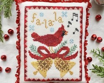 Counted Cross Stitch Pattern, A Cardinal's Carol, Christmas Decor, Cardinal, Christmas Ornament, Holiday, Luminous Fiber Arts, PATTERN ONLY