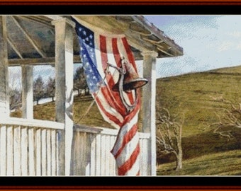 PDF Pattern, Counted Cross Stitch Pattern, Election Day, Primitive Decor, Patriotic, Americana, Farmhouse, Cross Stitch Collectibles